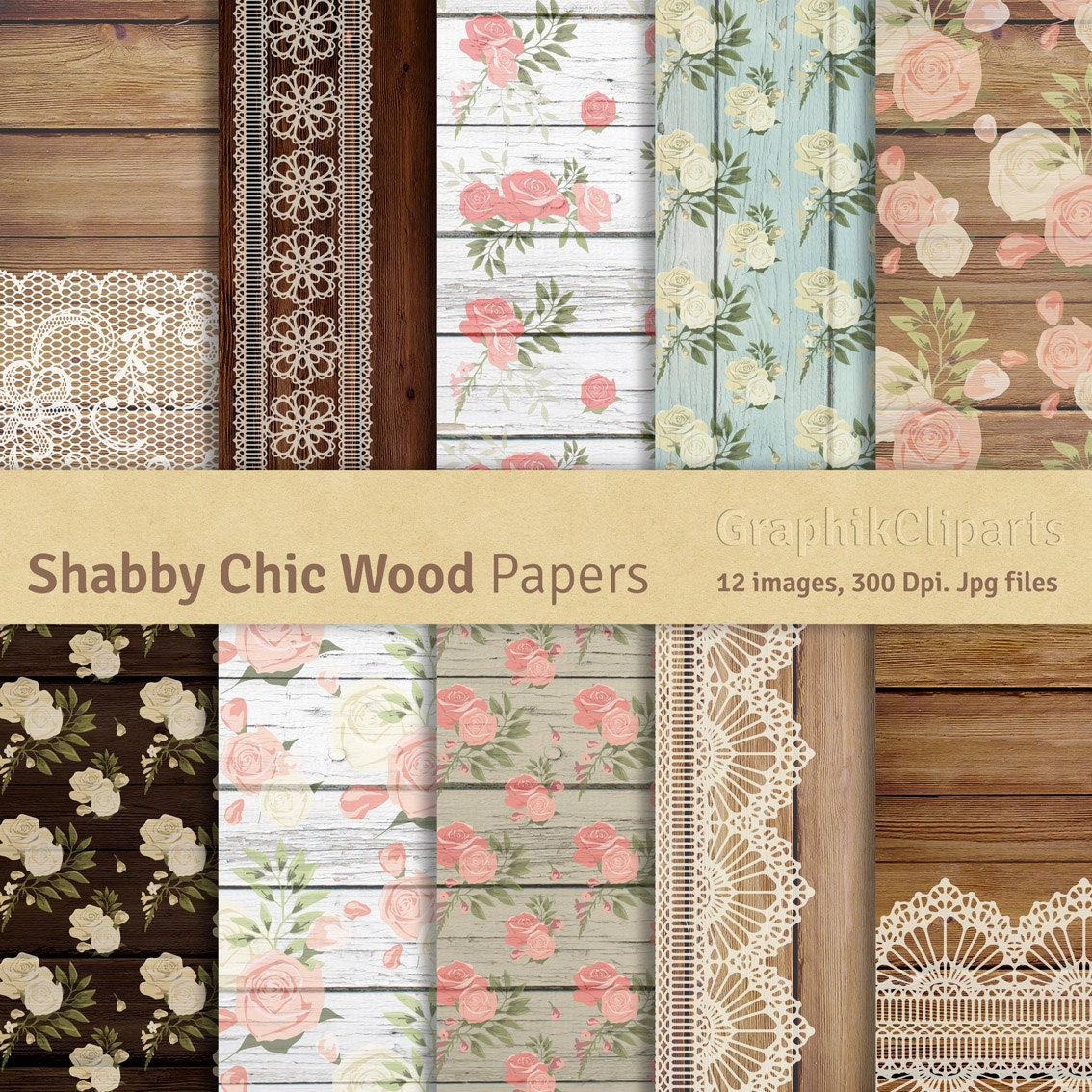 shabby chic wood digital papers roses and wood lace digital papers wedding cottage 10. Black Bedroom Furniture Sets. Home Design Ideas