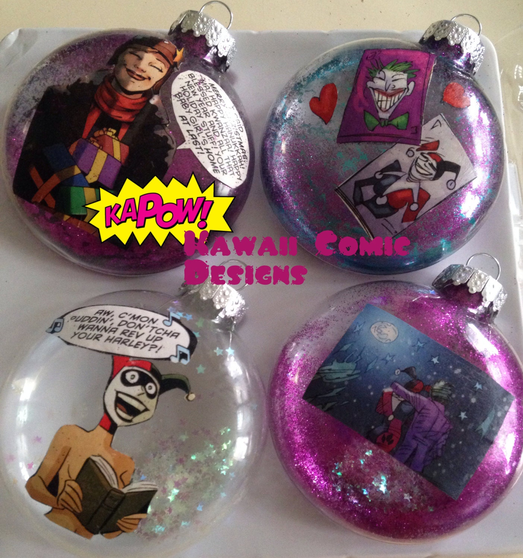 Batman christmas tree ornaments -  Batman Joker Holiday Christmas Tree Glass Ornament Set Comics Zoom