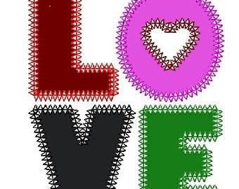 LOVE Applique - INSTANT DOWNLOAD (4x4, 5x7)