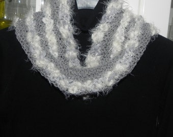 Loop neck warmer scarf in wool in shades of gray