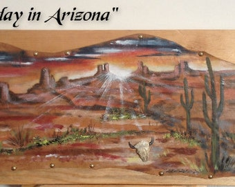 """Painting on leather """"End of the day in Arizona"""""""