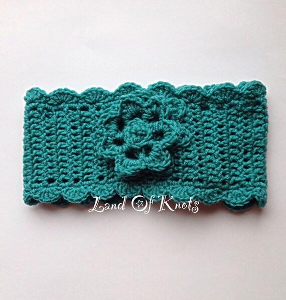 Crochet headband ear warmer with ruffle edging and by landofknots for Crochet ruffle edge