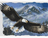 Soaring Bald Eagle Over The Mountains Counted Cross Stitch Pattern Pdf Chart Instant Download
