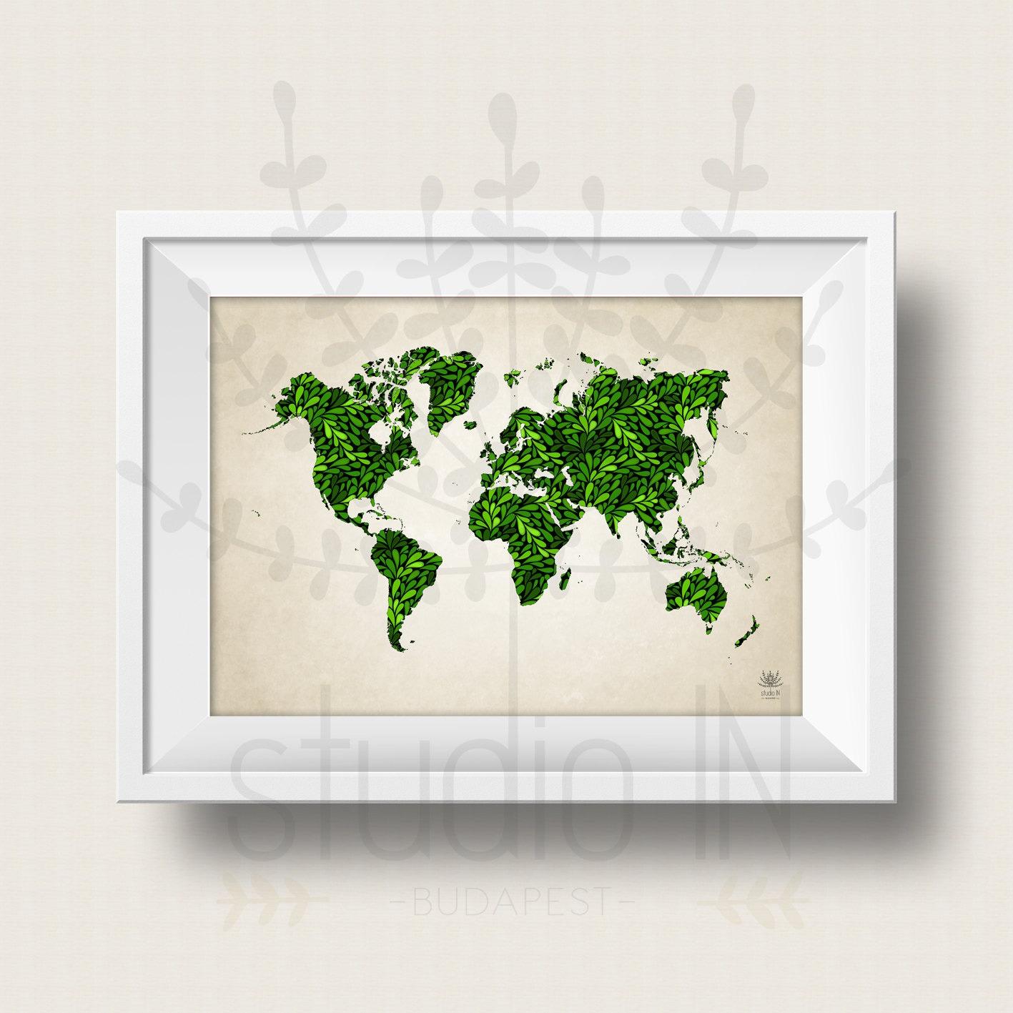 WOLRD MAP POSTER green world map art large world map print