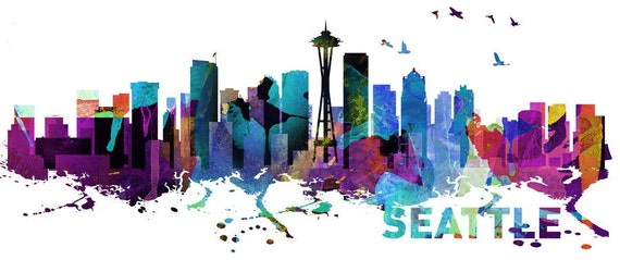 Seattle Skyline Watercolor Print Effect Wall By