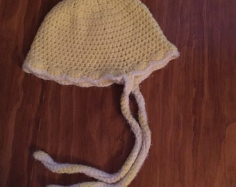 Girls' hat, winter crocheted vintage with pom pom in soft yellow and white
