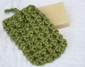 Organic Cotton Soap Saver, Soap Bag Crocheted from Green Organic Cotton Yarn, Eco-friendly Pouch, Spa Bag