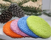 Set of Four (4) All Cotton Crocheted Scrubbies, Facial Scrubbies, Double-sided, Bath Scrubbies, Pink, Orange, Blue and Lime Green Scrubbies