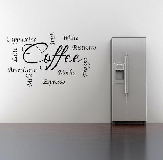 Frasi di parole caffè parete Sticker Art Room Lounge citazione