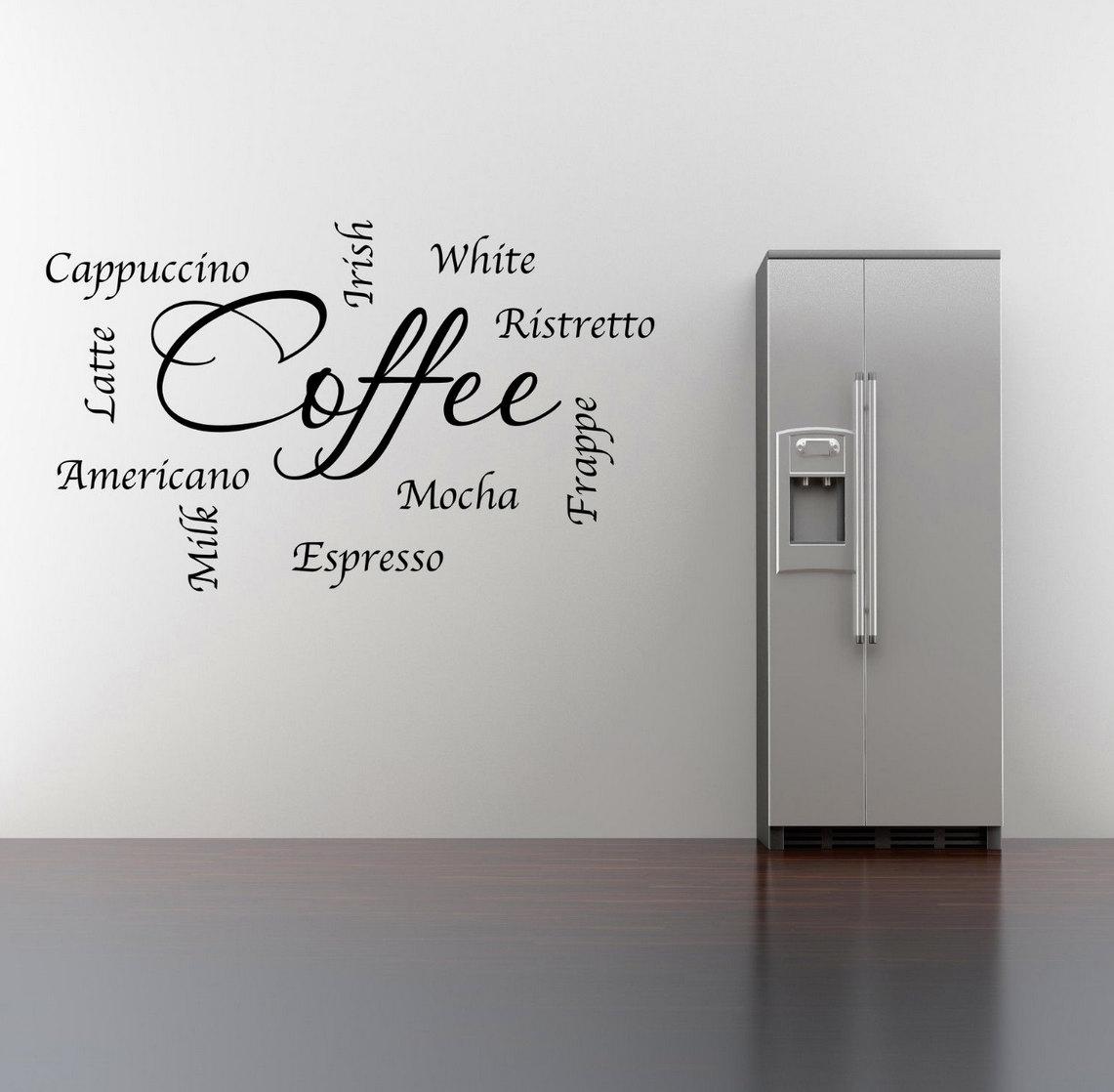 Frasi di parole caffè parete Sticker Art Room di GlitterBlast