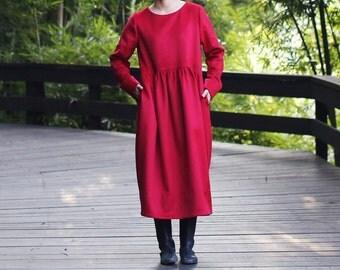 Red wool cashmere dress BonLife