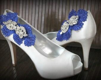 Royal blu shoe clip, bridal shoe clip, bridesmaid shoe clip, wedding shoe clip