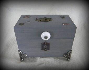 Zepplin Grey Wood Keepsake Storage Box