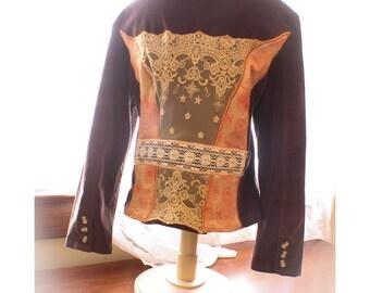corduroy, jacket, petite XL,  one of a kind, eco friendly, upcycled clothing, coat, restyled,boho, upcycled, woman's clothing,  wearable art