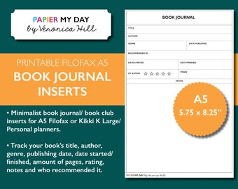 A5 Filofax Book Journal - Kikki K Book Journal - Minimalist Design - A5 Book Club Journal