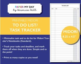 Midori Traveler's Notebook To Do List - Midori TN Inserts - Task List for Traveler Notebooks