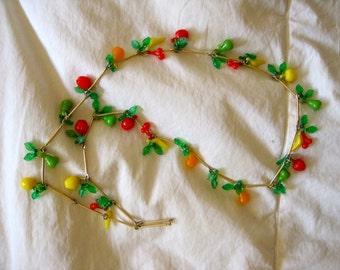 1950s Fruit Necklace Novelty Plastic Fruit Salad Cherry Apple Banana Pear Gold Metal Mid Century Kitsch Rockabilly Necklace
