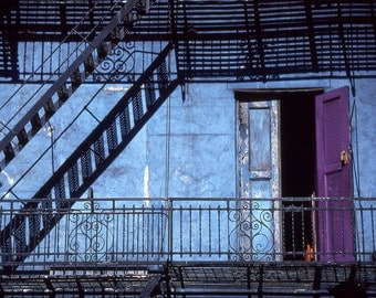 Purple Door Fine Art Photography Wall Photo Print, Iron Staircase Fire Escape Architecture Structure Blue Stairs Building Urban Landscape