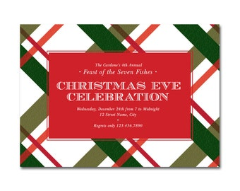 Christmas Eve Celebration Dinner 5x7 Invitation - Feast of the Seven Fishes - Printable and Personalized
