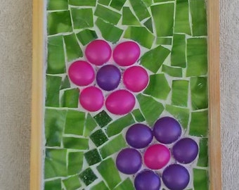mosaic art, mosaic wall hanging, mixed media, mosaic picture, glass tile art, mosaic flower art, pink and purple flower art