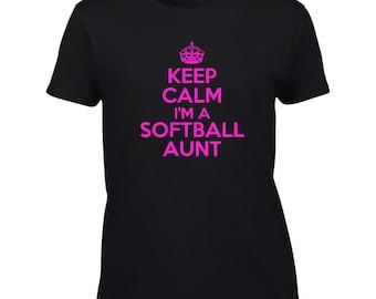 Keep Calm I'm A Softball Aunt T-Shirt Funny Sports Team Mens Ladies Womens Kids Big And & Tall
