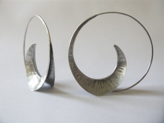 fine handcrafted silver earrings fold form designer jewelry