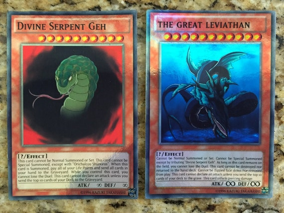 Yugioh ANIME Card Lot of 2   Divine Serpent Geh   Great Leviathan    Yugioh Divine Serpent