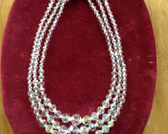 Crystal necklace 3 strands.