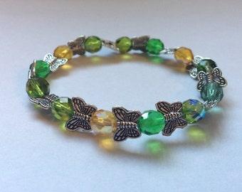 Green Butterfly Beaded Bracelet
