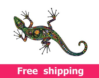 abstract lizard wall sticker, colorful lizard wall decal decor, lizard wall sticker removable vinyl animal tropical lizard wall art [FL050]