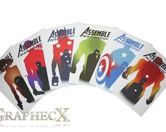 Avengers, Captain America, Iron Man, Thor, Hulk, Hawkeye, Black Widow Inspired birthday cards