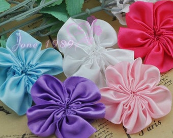 """20PC Satin 2 """"Ribbon Sewing Wedding AppliquesFlower 5 colors Free Shipping A0200"""