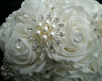 ivory or white brooch bridal bouquet with diamante pins