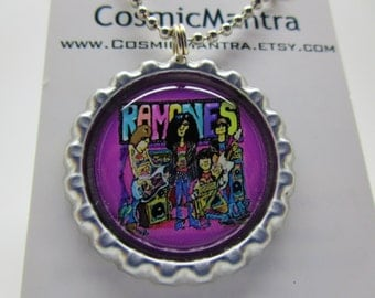 The Ramones art flattened bottle cap pendant necklace/key chain/magnet/ring/pin you choose