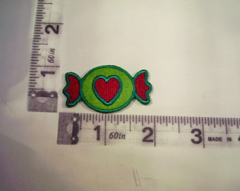 Candy patch - green with red heart