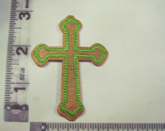 Gold cross with green embroidered iron on patch