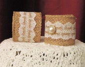RUSTIC BURLAP LACE, Napkin Rings,  Tan, White Lace, Gift, Outdoor, Wedding, Pearl Button, Home Table Decor, Country, Romantic,Set of  6