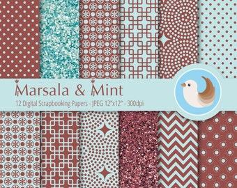 Marsala and Mint Digital Paper Set - Pantone Color of the Year Paper - 2015 Color of the Year Paper - Set of 12 Digital Scrapbooking Papers