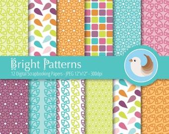 Bright Digital Paper - Flower Digital Paper Set - Bright Patterns Digital Paper - Set of 12 Digital Scrapbooking Papers