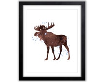 Watercolor Wall Art - Moose - Hunters Art - Animal Watercolor - Giclee Art Print