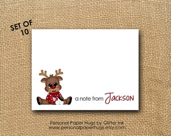 Blank Children's Christmas Thank You Cards - Holiday Thank You Cards - Reindeer Note cards - Reindeer notecards - Rudolph note cards