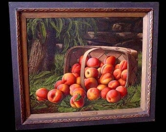 Basket Of Peaches Levi Wells Prentice 1851 American Oil Painting