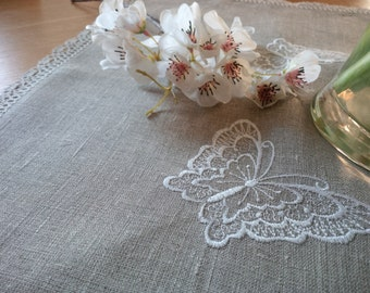 Pure Natural Linen Tablecloth 18.5 x 18.5 inches with Butterfly embroidery Handmade, Eco friendly gift Free UK Delivery