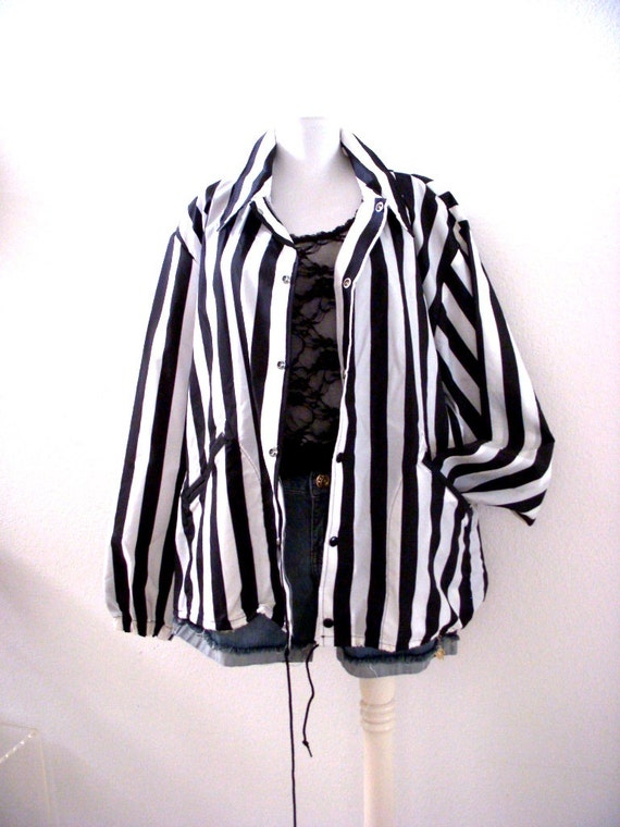 Vintage Black And White Stripe Referee Jacket Black White