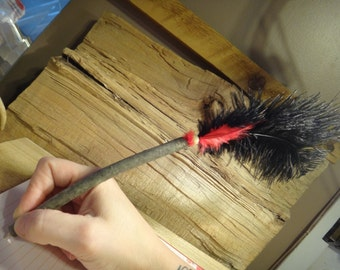 Ballpoint pen hand made with ostrich feather
