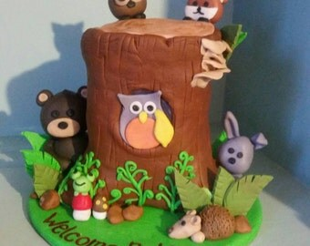 Handmade Fondant Tree Trunk Woodland Animals Cake Topper