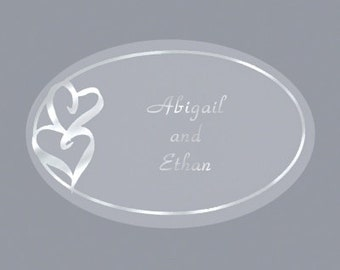 Personalized Double Heart Silver Wedding Invitation Envelope Seals Stickers (Pack of 100)