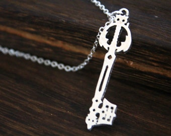 silver Kingdom Hearts Oblivion Keyblade Pendant necklace Christmas jewelry N700A