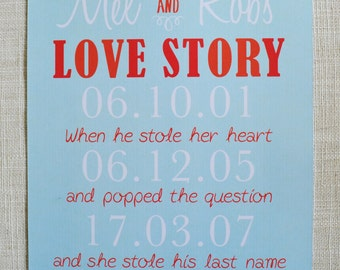 """LOVE STORY Poster, 8x10"""" perfect for Valentine's Day, Anniversaries or Wedding and Engagement Gifts! Digital File only."""