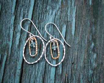 Aqua Marine Bronze and Sterling Silver Earrings